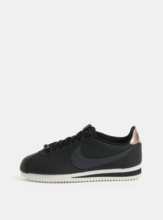 Černé dámské kožené tenisky Nike Classic Cortez