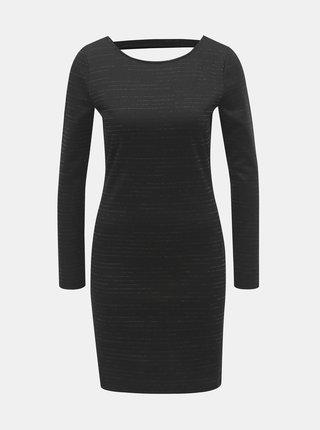 Rochie mini neagra cu decupaj la spate si dungi stralucitoare Jacqueline de Yong Glitter