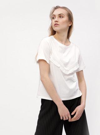 Tricou alb cu ciucuri decorativi - VERO MODA Tally