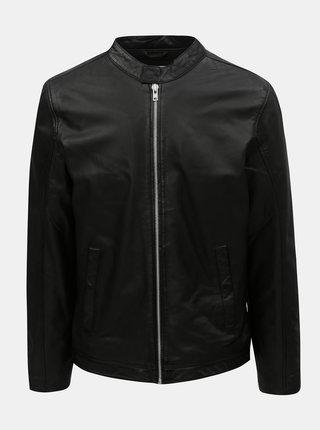 Čierna kožená bunda na zips Lindbergh