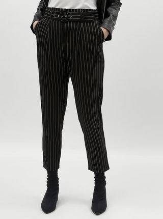 Čierne pruhované skrátené nohavice s vysokým pásom TALLY WEiJL