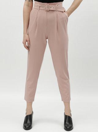 Růžová zkrácené kalhoty s vysokým pasem TALLY WEiJL