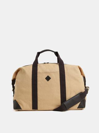 Hnědo-béžová cestovní taška s koženými detaily GANT