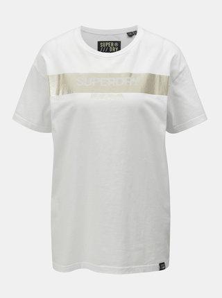 Biele dámske voľné tričko s potlačou Superdry