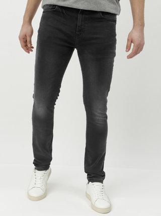 Blugi gri inchis skinny din denim cu aspect prespalat Burton Menswear London