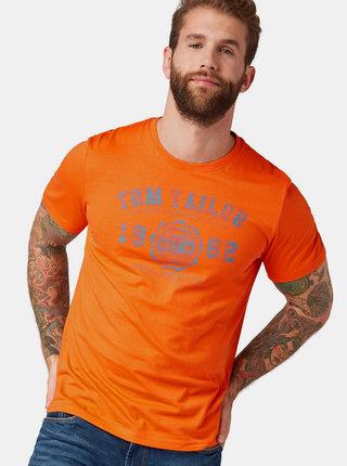 Tricou barbatesc oranj cu imprimeu Tom Tailor