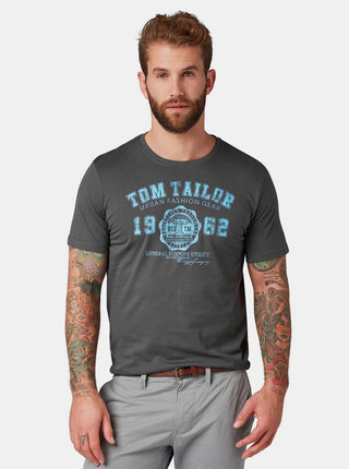 Sivé pánske tričko s potlačou Tom Tailor