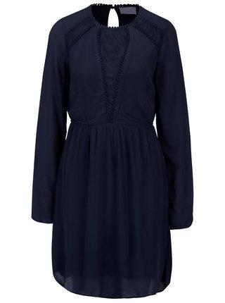 Tmavomodré šaty s dlhým rukávom VILA Dipti