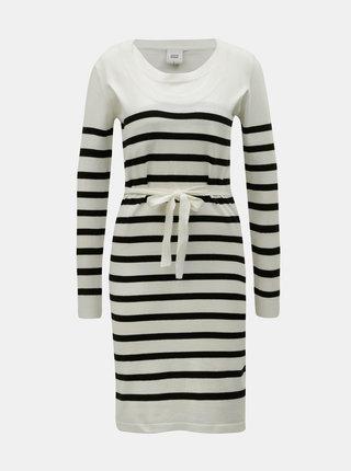 Čierno–krémové pruhované svetrové šaty na dojčenie Mama.licious Newanga