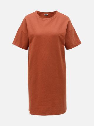 Cihlové volné mikinové basic šaty Noisy May Mella