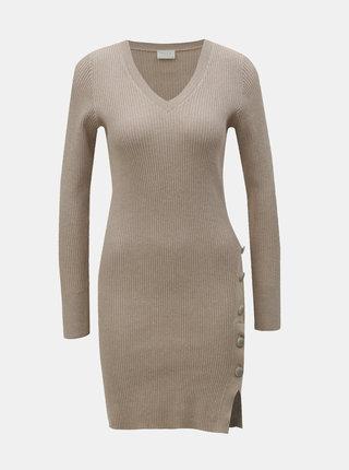 Béžové rebrované svetrové šaty s gombíkmi VILA Soldana