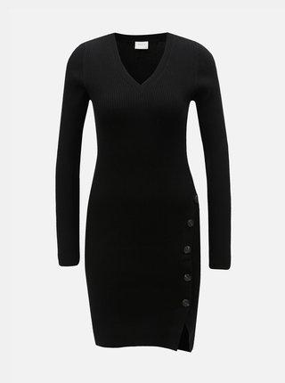 Černé žebrované svetrové šaty s knoflíky VILA Soldana