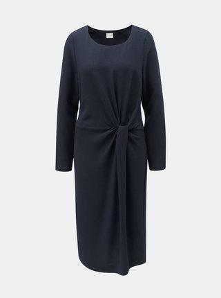 Tmavomodré šaty s riasením na boku VILA Sealo
