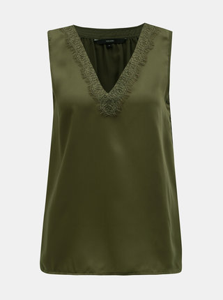Khaki top s krajkovými detaily VERO MODA Tuva