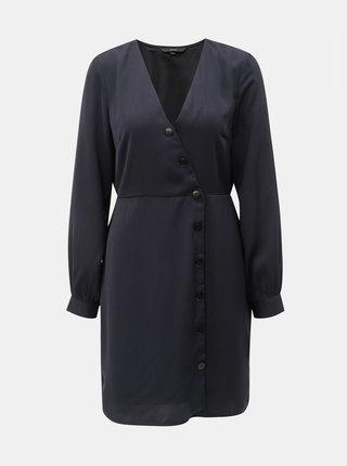 Tmavomodré šaty s ozdobnými gombíkmi VERO MODA Baya