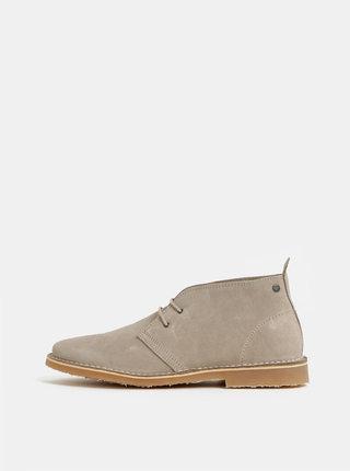 Béžové pánske semišové členkové topánky Jack & Jones Gobi