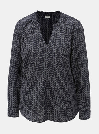 Bluza albastru inchis cu model si maneci lungi Jacqueline de Yong Ilse