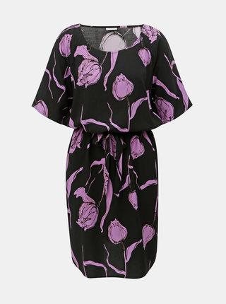 Fialovo–čierne kvetované šaty s opaskom Jacqueline de Yong Isha
