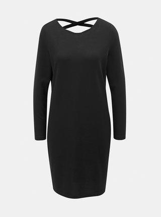 Černé svetrové šaty s pásky na zádech Jacqueline de Yong Emily