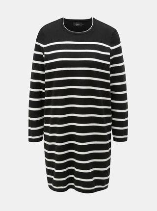 Bielo–čierne svetrové pruhované šaty ONLY Ayo