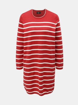 Bielo–červené svetrové pruhované šaty ONLY Ayo