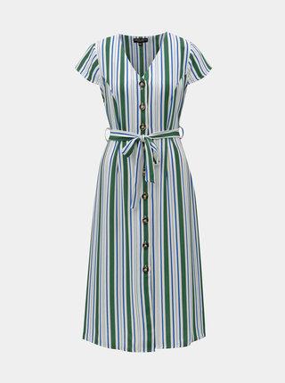 Zeleno–biele pruhované midišaty Dorothy Perkins