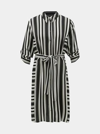 Čierno–biele pruhované košeľové šaty Dorothy Perkins