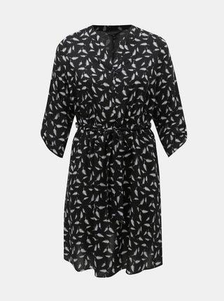 Čierne šaty s motívom pierok Billie & Blossom Curve