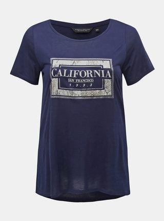 Tmavě modré tričko s potiskem Dorothy Perkins Curve