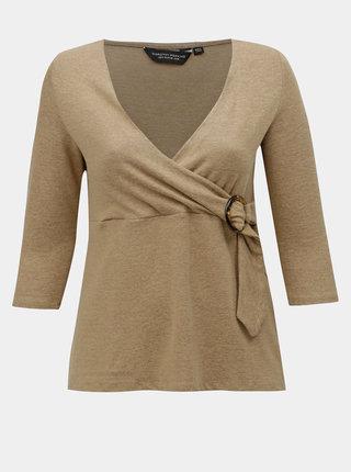 Béžový lehký svetr s ozdobnou sponou Dorothy Perkins Curve