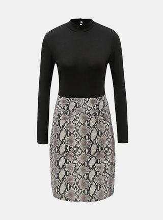 Béžovo-černé šaty s hadím vzorem Dorothy Perkins