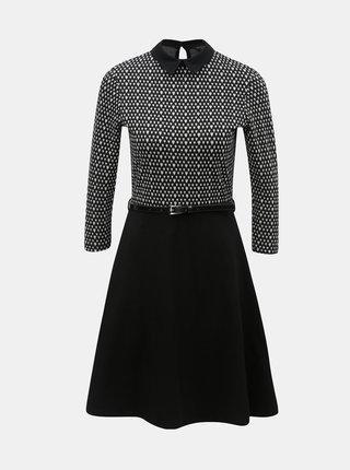 Rochie alb-negru cu model si cordon Dorothy Perkins