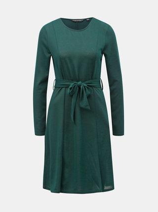 Tmavozelené svetrové šaty s opaskom Dorothy Perkins