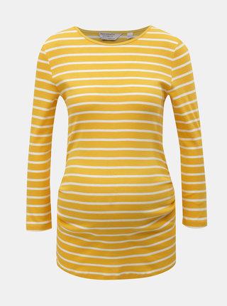 Tricou alb-galben in dungi cu maneci 3/4 pentru femei insarcinate Dorothy Perkins Maternity