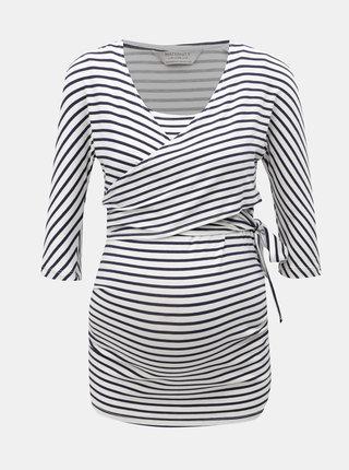 Modro-bílé pruhované těhotenské/kojicí tričko se zavazováním Dorothy Perkins Maternity