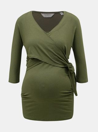 Khaki těhotenské/kojicí tričko s 3/4 rukávem Dorothy Perkins Maternity