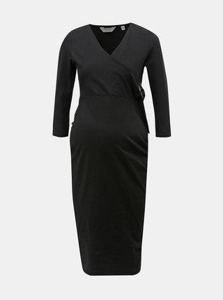 Čierne tehotenské puzdrové šaty s ozdobnou sponou Dorothy Perkins Maternity