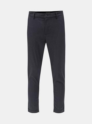 Tmavě modré pruhované zkrácené kalhoty Selected Homme Alex