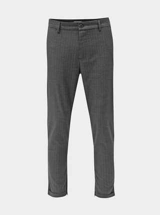 Šedé pruhované zkrácené kalhoty Selected Homme Alex