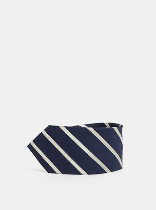 Krémovo-modrá pruhovaná hedvábná kravata Selected Homme Noah