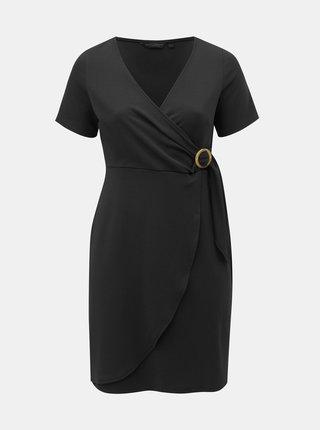 Černé šaty s překládaným výstřihem Dorothy Perkins Curve