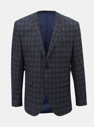 Tmavomodré kockované oblekové slim sako Selected Homme Logan