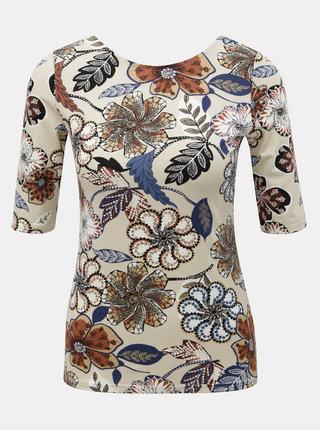 Béžové květované tričko s výstřihem na zádech Dorothy Perkins