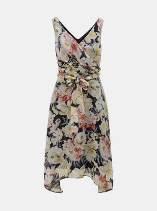 Modro–béžové kvetované šaty Billie & Blossom