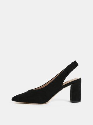Pantofi negri cu aspect de piele intoarsa si decupaj pe calcai Dorothy Perkins