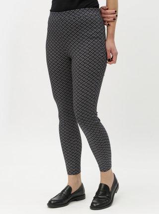 Tmavomodré vzorované skrátené skinny nohavice s vysokým pásom Dorothy Perkins