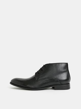 Čierne pánske kožené členkové topánky Burton Menswear London