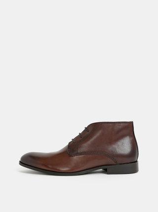 Tmavohnedé pánske kožené členkové topánky Burton Menswear London