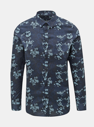 Camasa albastru inchis florala Dstrezzed
