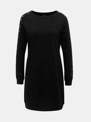 Čierne mikinové šaty s čipkovanými detailmi ONLY Mynte